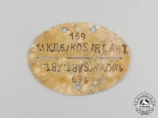 A Second War Kossak Army Artillery Battalion Identification Tag; Ground Found