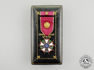 A Second War American Legion of Merit; Officer Grade with Case