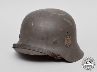 A Single Decal M42 Kriegsmarine Helmet by Emaillierwerk AG of Fulda