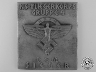 A Large Winner's NSFK Plaque; NS-Fliegerkorps Gruppe 4