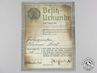 A Rare Award Document for Gau Honor Badge Berlin; Published Example