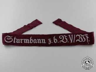 "A Scarce & Early Sturmbann Honor Cuff Title ""Sturmbann z. b. U. V/ W f"""