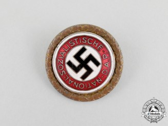 A NSDAP Golden Party Badge to Heinrich Voegtle by Deschler & Sohn of Munich; Large Version