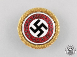 An NSDAP Golden Party Badge to SS Sturmbannarzt  Karl Jordan