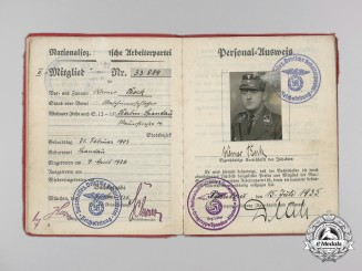 An NSDAP Award Document & Book for Golden Party Badge and Awards