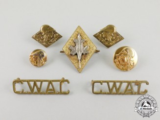 A Canadian Women's Army Corps Seven Piece Insignia Group