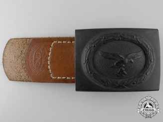 A Mint Luftwaffe Buckle with Leather Tab 1942