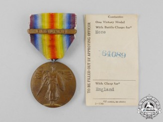 A First War Victory Medal with England Clasp and Officer's Receipt