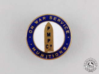 A First War Canadian PMP Company Munitions Worker's War Service Badge