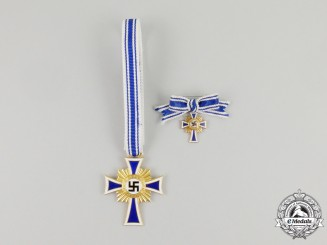 A Third Reich Period 1st Class Cross of Honour of the German Mother with its Miniature