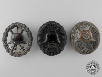 Three German Black Wound Badges