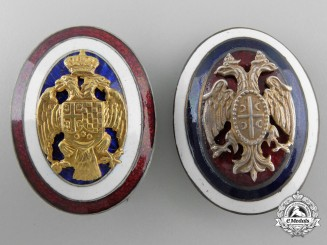 Two First War Period Serbian/Yugoslav Cap Badges