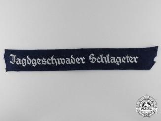 A Jagdgeschwader Schlageter Officer's Cufftitle from Fighter Ace Rolf Hermichen; 64 Aerial Victories
