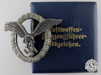 An Early Luftwaffe Pilot's Badge by Juncker to Oberleutnant Karl Schuh