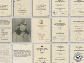 A Group of Documents, Leistungbuch & More to Luftwaffe Oberleutnant Karl Schuh, Honor Goblet & DK in Gold Winner