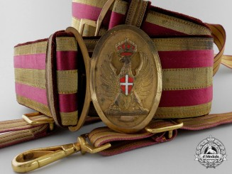 An Italian Officer's Belt & Buckle and Dagger Hangers