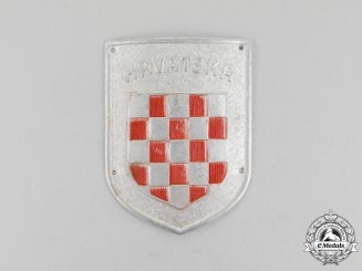 "A Second War Croatian ""Hrvatska"" Wehrmacht Volunteer Shield"