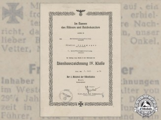 A Kriegsmarine Document Group to Matrosenobergefreiter; Torpedoed in 1944