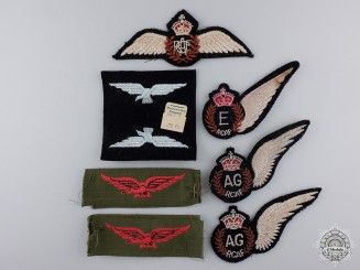 Lot of Nine WWII Royal Canadian Air Force (RCAF) Badges