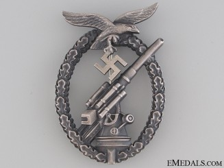 Luftwaffe Flak Badge – Tombac with Ball Hinge