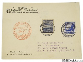 LZ129 Hindenburg 1st Europe to North America Flight Postcard 1936