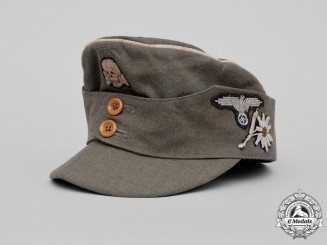 Germany. A Waffen-SS M43 Mountain Officer's Field Cap