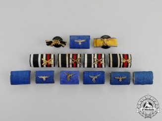 Germany. A Grouping of Thirteen First and Second War German Medal Ribbon Bars and Boutonnieres
