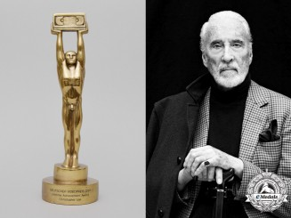 Germany, Republic. A Deutscher Videopreis Lifetime Achievement Award  to Actor Christopher Lee