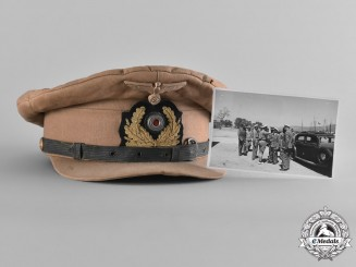 Germany. A Kriegsmarine NCO's Tropical Visor Cap with a Photograph of the Cap being Worn