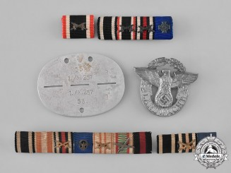 Germany. A Lot of First and Second War Medal Ribbon Bars, Badges, and Identification Tags