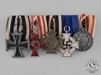 Prussia, State. A First War Veteran's Medal Bar with Five Medals, Awards, and Decorations