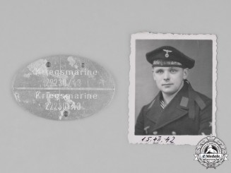 Germany, Kriegsmarine. An Identification Tag Accompanied by the Picture of a Sailor
