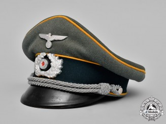 Germany, Wehrmacht. A Calvary Officer's Visor Cap belonging to Capt. F. Fessmann, by Erel