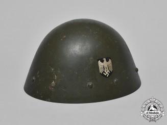 Czechoslovakia. A German Captured and Repurposed Czechoslovak VZ34 Steel Helmet