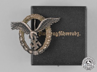 Germany, Luftwaffe. A Cased Pilot Badge to Friedrich Widenbach, by C.E. Juncker