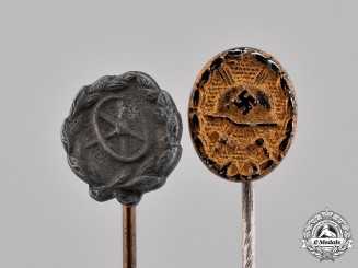 Germany, Third Reich. A Grouping of Two Miniature Stick Pins