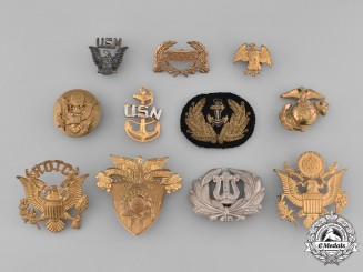 United States. Lot of Eleven Army, Navy, Marine Corps and ROTC Cap Badges