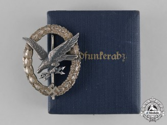"Germany, Luftwaffe. A Cased Radio Operator Badge, ""Thin Wreath"", by C.E. Juncker, c. 1937"