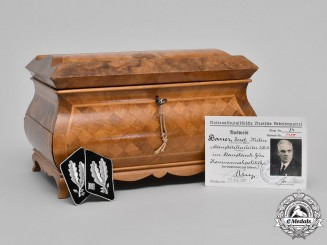 Germany. A Desk Chest with Concealed Pistol Compartment, Gifted by Rudolf Hess to NSDAP Member 34