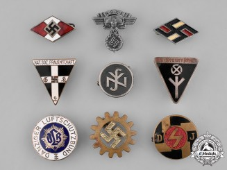 Germany. Nine Third Reich Period Badges and Membership Pins