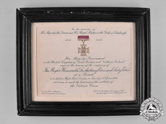 United Kingdom. A Victoria Cross Parade Invitation to Prime Minister Sir Robert Anthony Eden and Lady Eden 1956