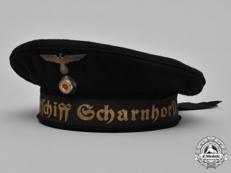 Germany, Kriegsmarine. A Kriegsmarine Battleship Scharnhorst Seaman's Cap