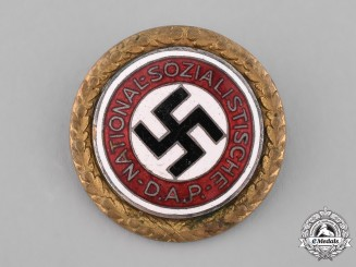 Germany, NSDAP. A Golden Party Badge Awarded to Otto Rick, by Deschler & Sohn