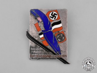 Germany, Third Reich. A 1934 Wehrmacht, SA, and SS Berchtesgaden Skiing Championship Badge