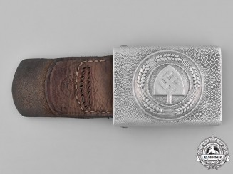 Germany, RAD. A Standard Issue EM/NCO's RAD Belt Buckle, with Leather Tab, by Schmöle & Co