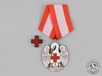 Denmark, Kingdom. A Red Cross Badge of Merit, I Class with Red Cross Lapel Pin