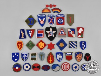 United States. A Lot of Fifty-Three Second War United States Army Embroidered Patches