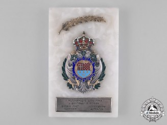 Yugoslavia, Kingdom. Award Plaque for the First International Auto-Race, Belgrade 1939