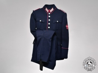 Germany, Feuerschutzpolizei. A Forbach Feuerschutzpolizei Wachtmeister Tunic and Matching Trousers, by Franz Fiedler