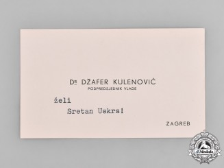 "Croatia, Independent State. ""Happy Easter"" Card from Dr. Džafer Kulenović ( Vice President o the Independent State of Croatia.), c.1944"